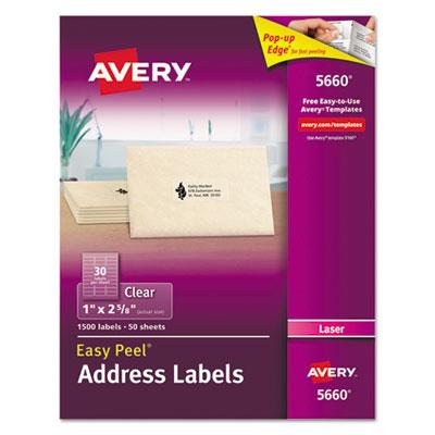 Avery 5660 Matte Clear Easy Peel Address Labels Laser 1 X 2 58