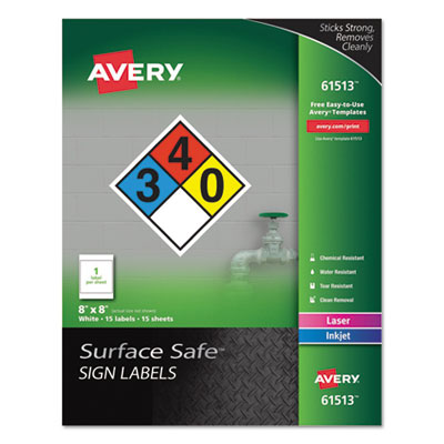 avery 61513 surface safe sign labels 8 x 8 white 15 pk