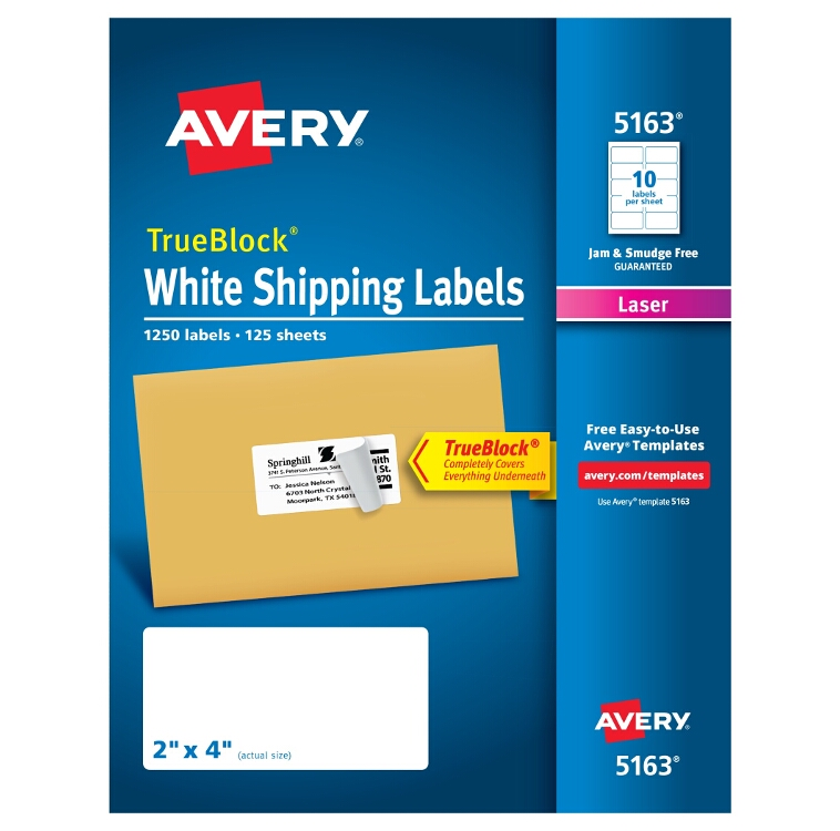 Avery 85563 Shipping Labels With Trueblock Technology 8 12 X 11
