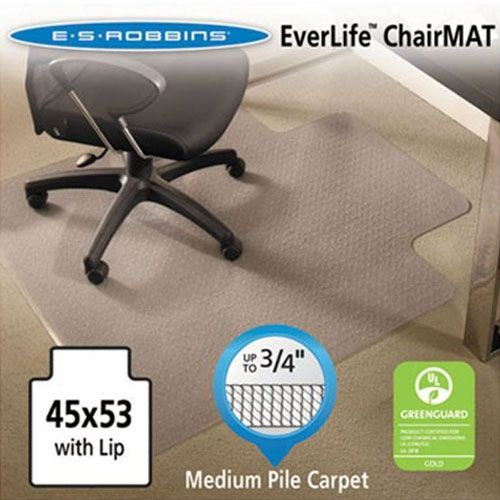Es Robbins 122173 Everlife Chair Mats For Medium Pile Carpet With Lip 45 X 53 Clear 122173
