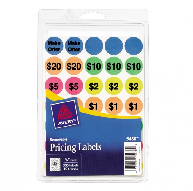 avery 05480 removable neon pricing label assorted colors 4 x 6