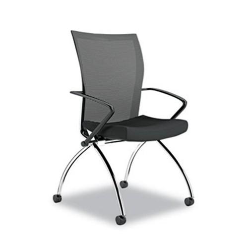 Mayline TSH1BB Valor Training Series High Back Nesting Chair, Mesh/Fabric,  Black, 2/Carton