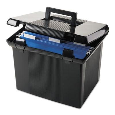 Pendaflex 41742 Portable File Boxes, Letter, Plastic, 11 x 14 x 11-1/8,  Black