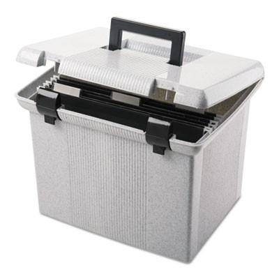 Pendaflex 41747 Portable File Boxes, Letter, Plastic, 13 7/8 x 14 x 11 1/8,  Granite