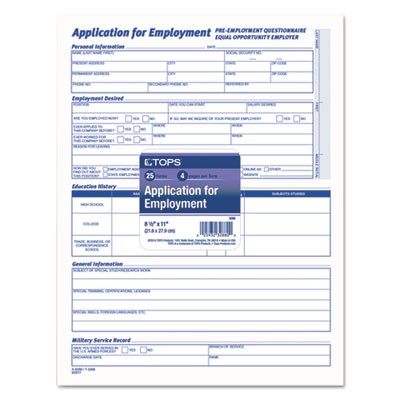 tops 3288 comprehensive employee application form 8 1 2 x 11 25 forms