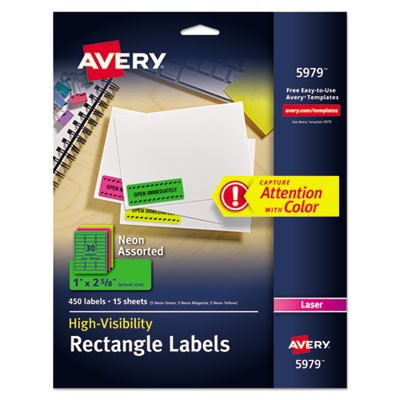 avery 5979 high visibility permanent id labels laser 1 x 2 5 8 asst neon 450 pack. Black Bedroom Furniture Sets. Home Design Ideas